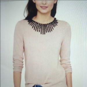 J Crew Black Label Soft Pink Jeweled Sweater
